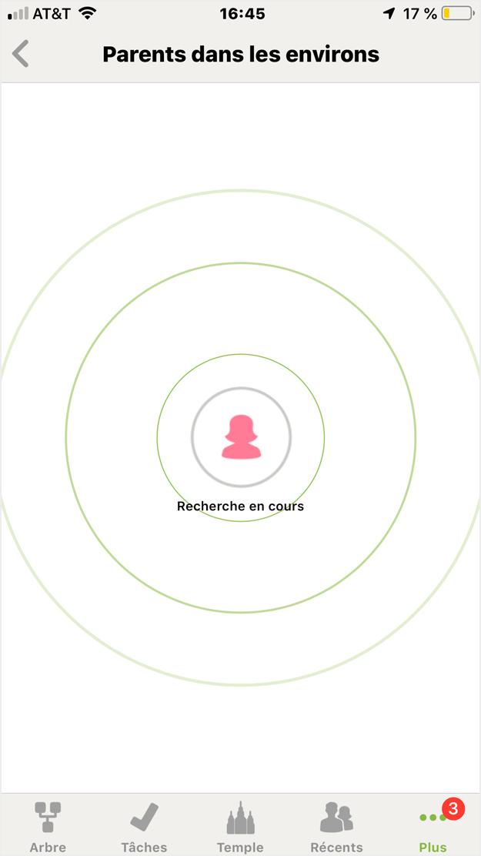 Copie d'écran de la fonction «Parents dans les environs» dans l'application de FamilySearch.