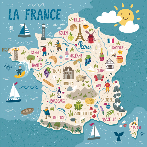 An illustration of France showing elements of French culture.