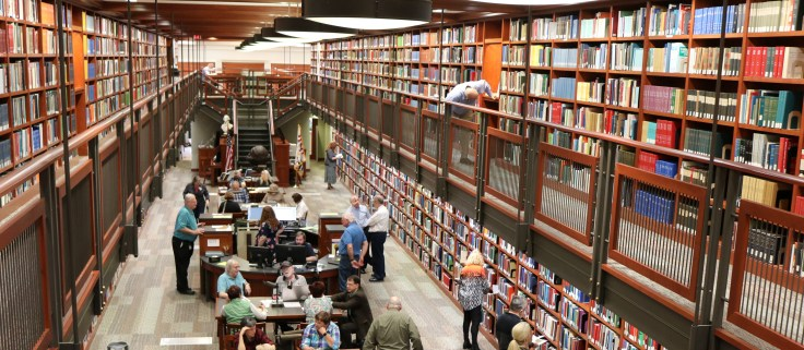 The inside of the Sons of the American Revolution Genealogical Research Library.