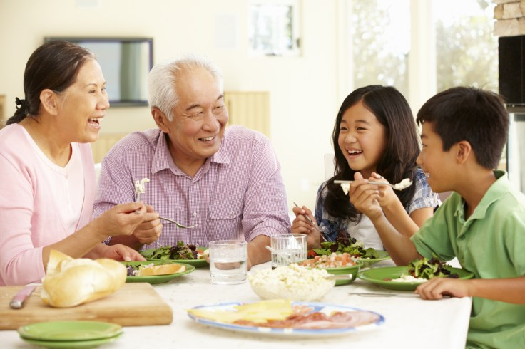 Gather the family together around the kitchen table at meal times.