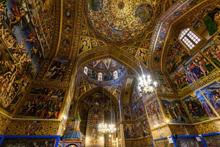 the interior of an armenian cathederal.