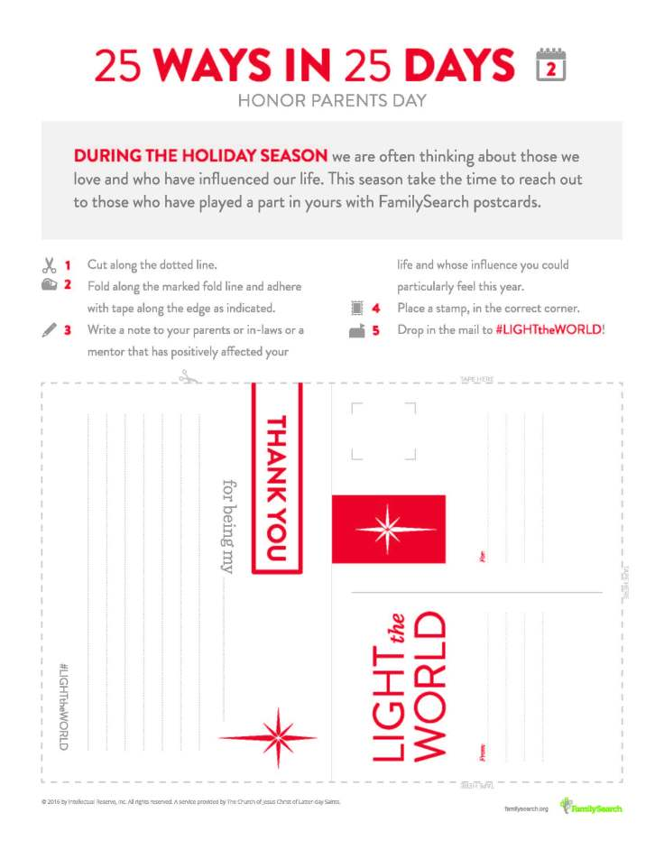 Free printable postcard to help #LIGHTtheWORLD by honoring your family.