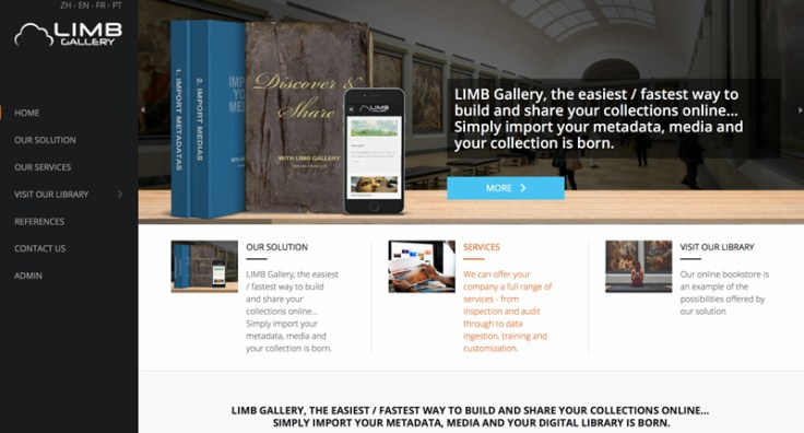 A screenshot of LIMB gallery's front webpage
