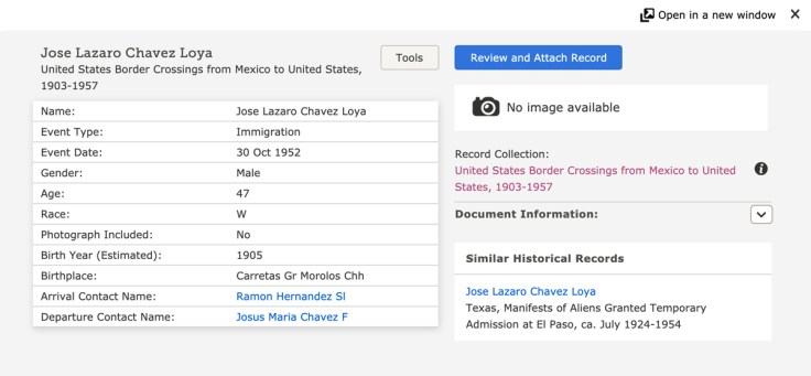 screenshot of us border crossing record from Mexico