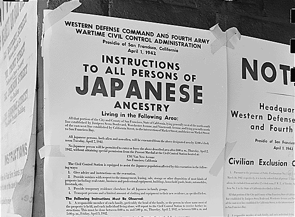 a japanese exclusion order poster from World War 2.
