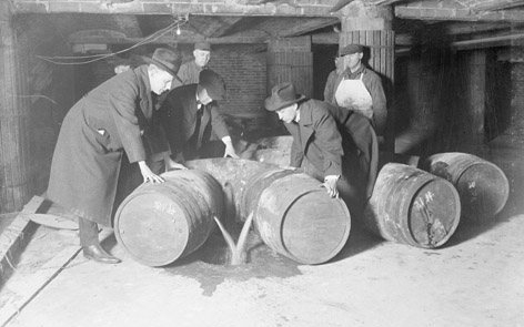 prohibition agents destroying alcohol