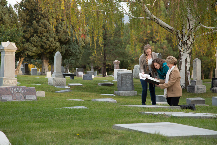 Find headstones of female relatives.