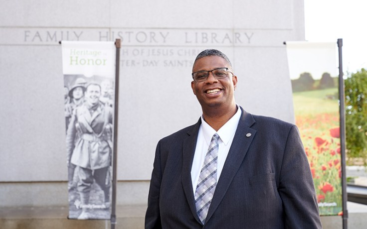 Thom Reed in front of the Family History Center in Salt Lake City.