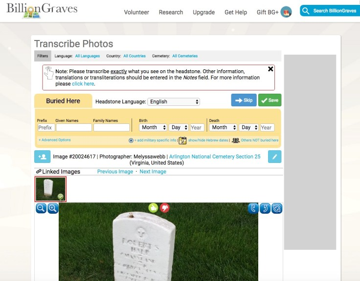 DIY: Transcribe tombstones to help locate family graves.