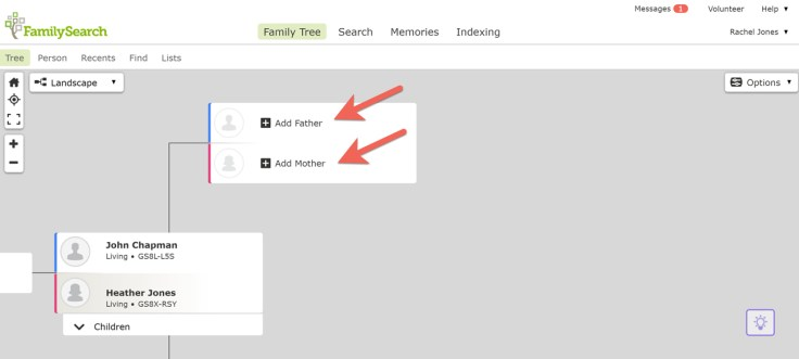 Screenshot of Add Father and Add Mother buttons on FamilySearch.