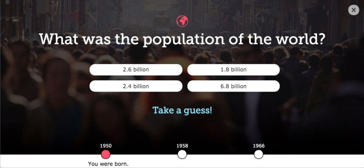 Fun quiz screenshot of world population when born