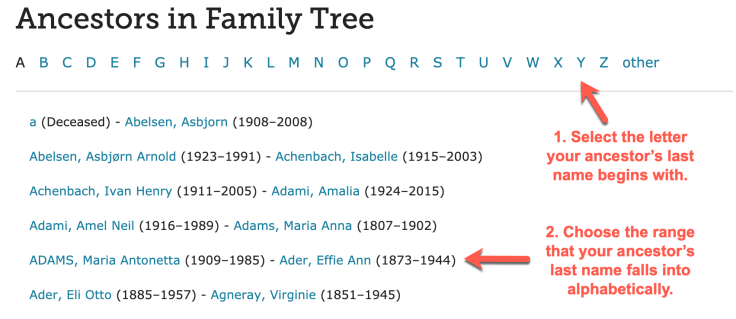 how to find your ancestors in the family tree screenshot