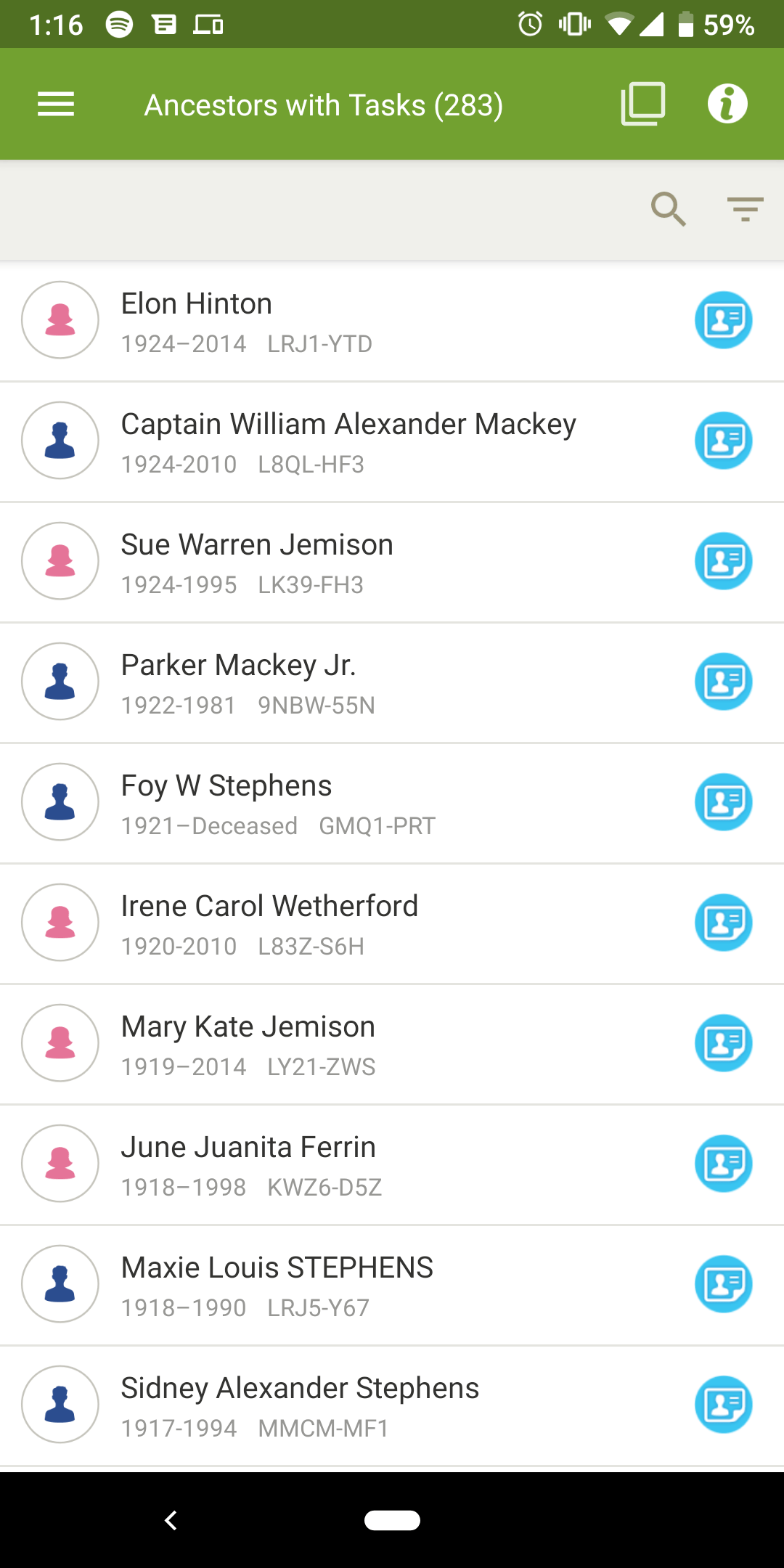 Ancestors with tasks on android