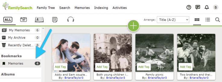 Screenshot of Bookmarks link on FamilySearch Memories page.