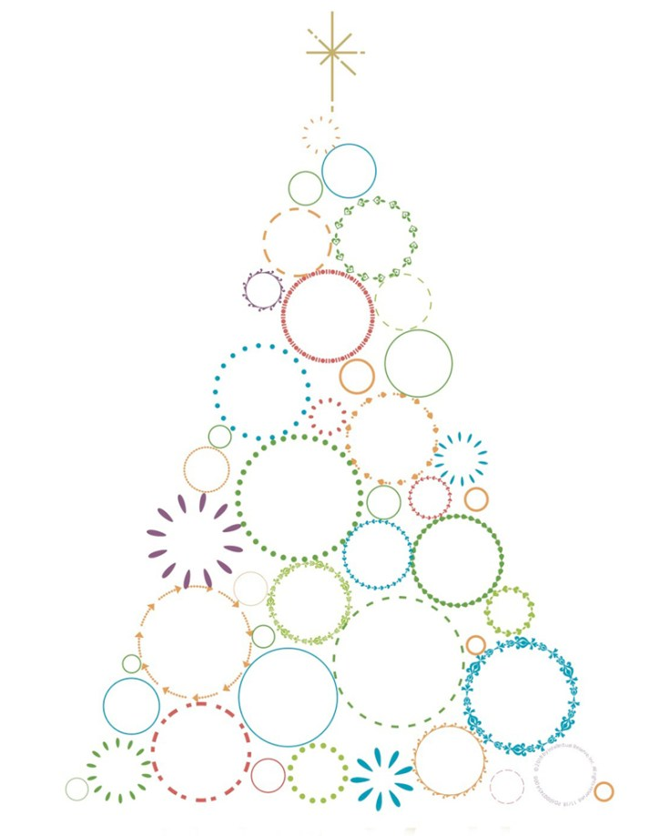 Easy colorful christmas family tree template