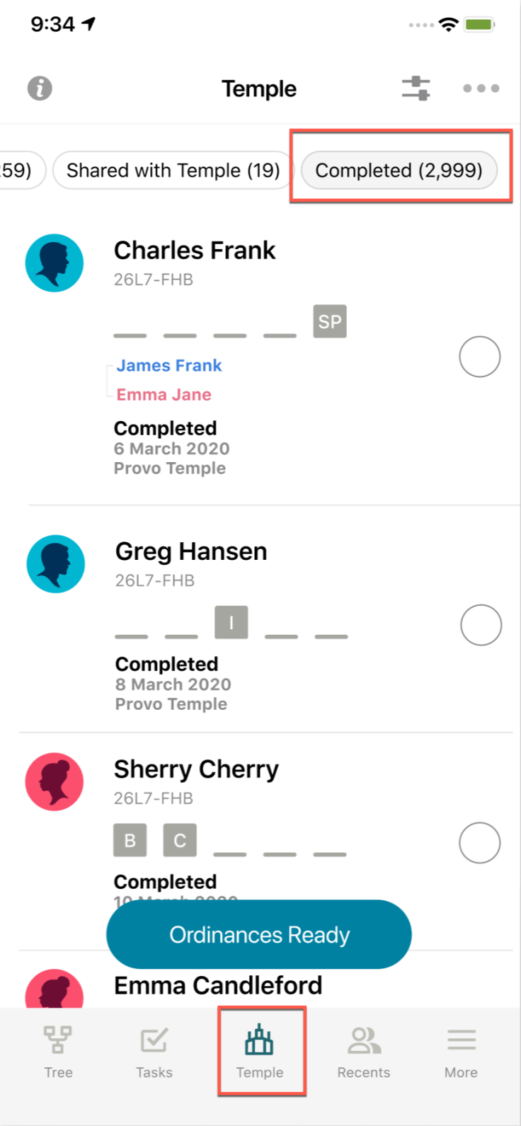 Mobile screenshot of Family Tree app, Temple tab
