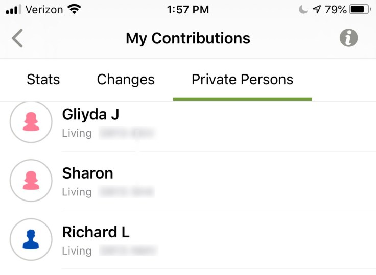 Private persons screenshot - iOS