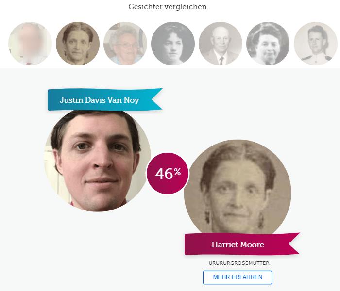 Gesichtsvergleichs-Screenshot
