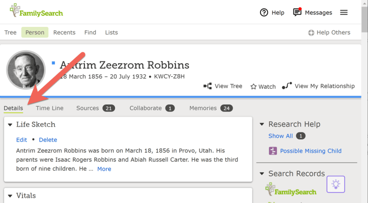 Details tab on FamilySearch person page.
