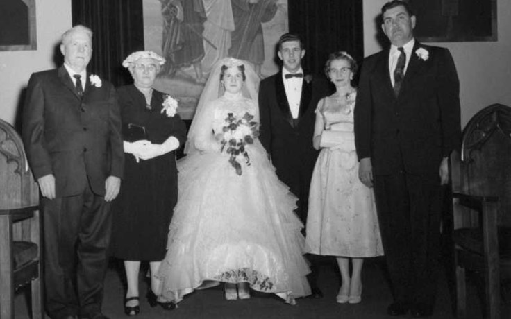 a historic photo of a wedding in England