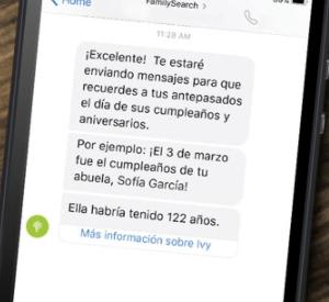 captura de pantalla de mensajes de texto sobre los antepasados