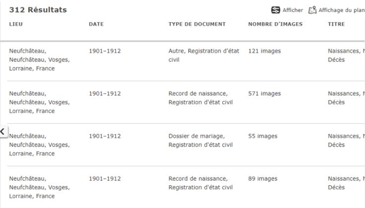 Copie d'écran de la page de résultats de recherche d'images.
