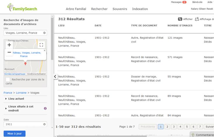 Image de noms de lieux sur la page des résultats.