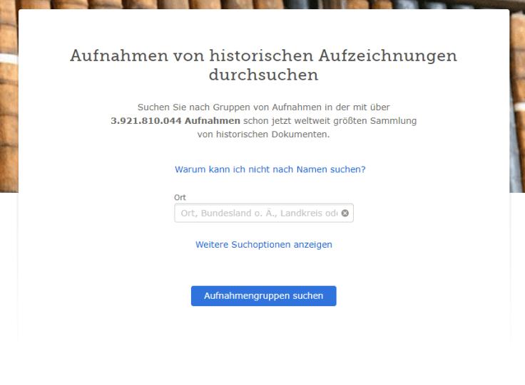 Ein Screenshot von der Seite, über die man Aufnahmen von Aufzeichnungen suchen kann