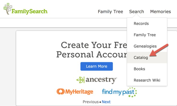 Screenshot of catalog option on FamilySearch homepage.