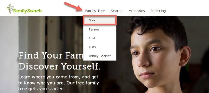 Screenshot of the FamilySearch navigation menu.