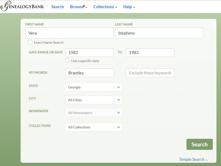 the genealogy bank website, showing how to find obituaries