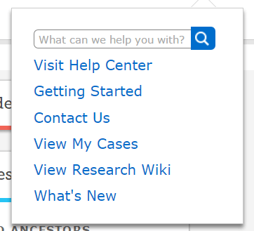 FamilySearch help menu