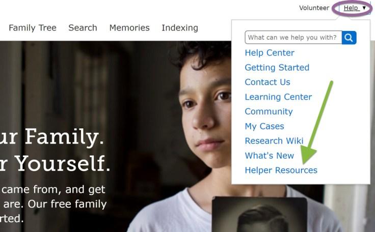 Screenshot of help menu on FamilySearch.org.