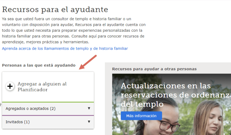 Captura de pantalla de la actualización del planificador para consultores.