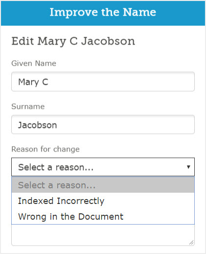 Screenshot of the Improve the Name box on FamilySearch.