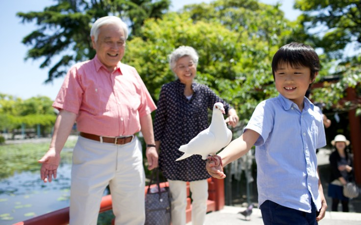 A Japanese grandfather with his grandson, who is holding a pigeon.