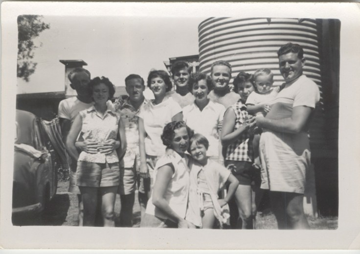 Jill with her mother and extended family.