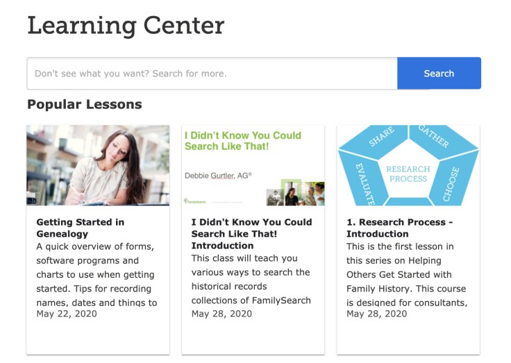 learning center screenshot