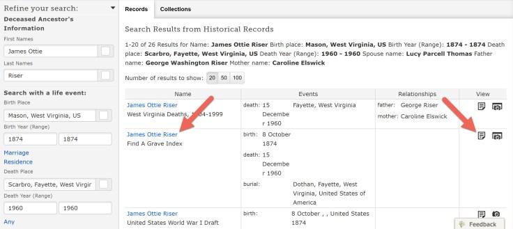 Captura de tela dos resultados da pesquisa do FamilySearch.