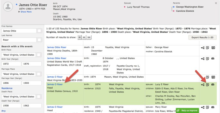 Screenshot of search results from FamilySearch.