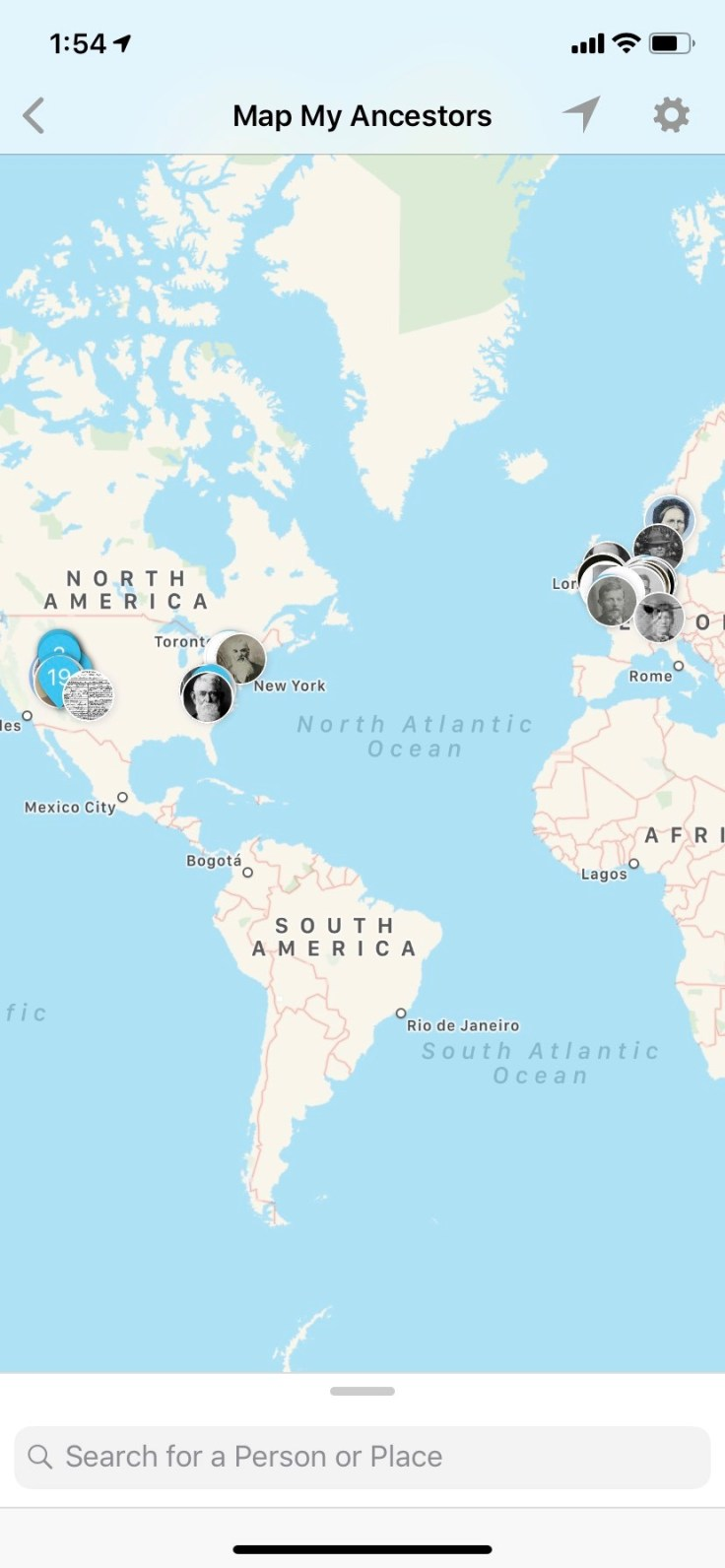 ancestors on the world map in ios