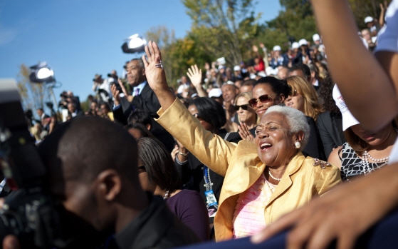 People at the dedication of the Martin Luther King Jr. Memorial.