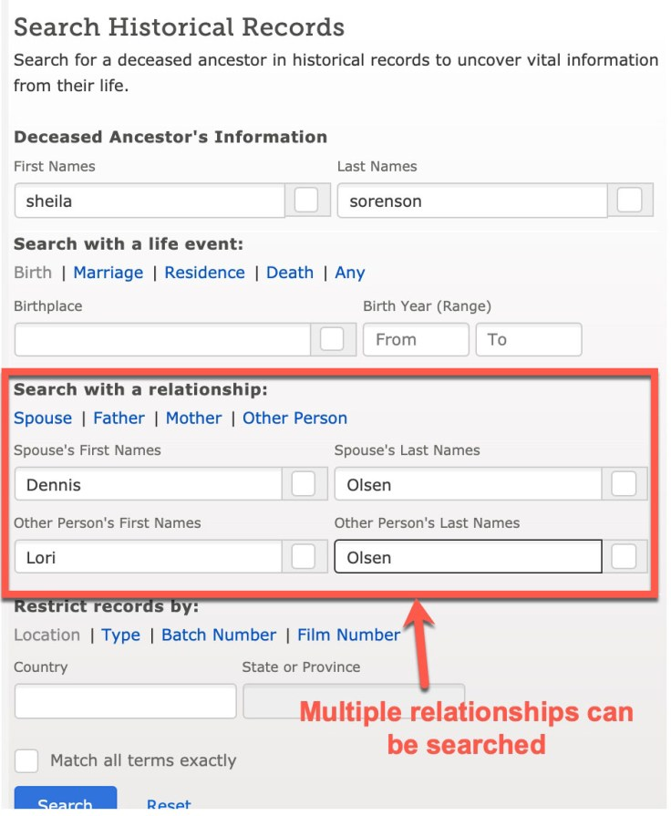 search multiple relationships screenshot