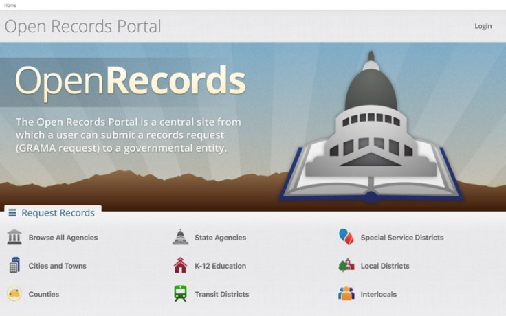Screenshot of the OpenRecords portal on the Utah State Archives website