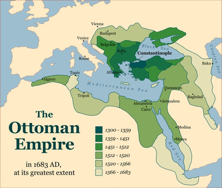 A graphic showing the size of the ottoman empire.
