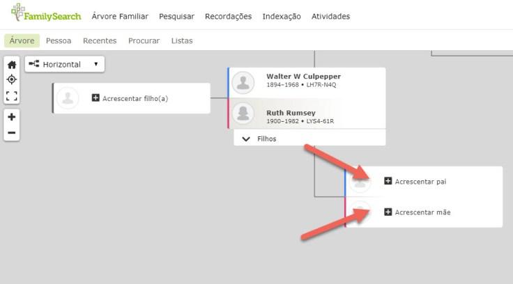 """Captura de tela dos botões """"Acrescentar pai"""" e """"Acrescentar mãe"""" no FamilySearch."""