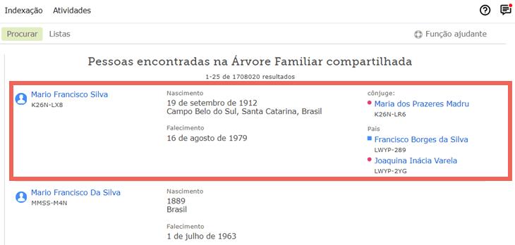 Captura de tela de resultados de pesquisa para a pesquisa de um antepassado no FamilySearch.org.