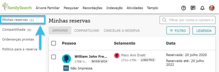 A aba Minhas reservas no FamilySearch, exibindo nomes de familiares reservados.