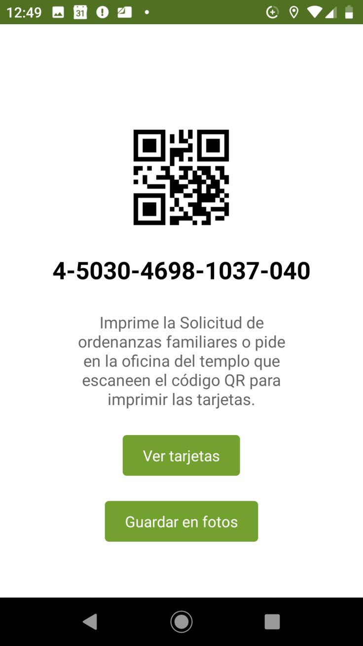 Captura de pantalla del código QR para imprimir las reservaciones del templo en un teléfono Android.