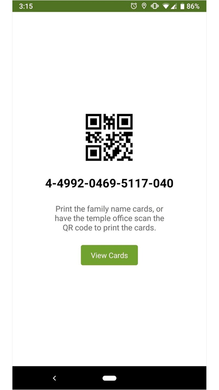 Screenshot of QR code for printing temple reservations on an android phone.